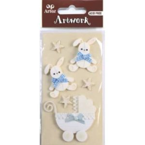 Blue Bunny And Carriage Craft Embellishment By Artoz