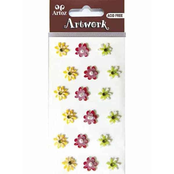 Assorted Light Colour Flower Craft Embellishment By Artoz