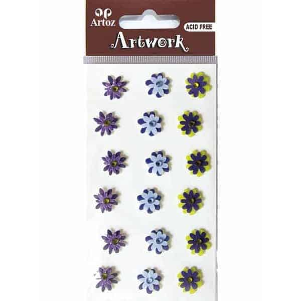 Assorted Dark Colour Flower Craft Embellishment By Artoz