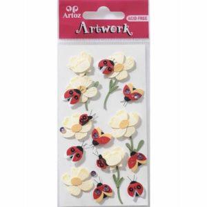 Ladybird With Flowers Craft Embellishment By Artoz
