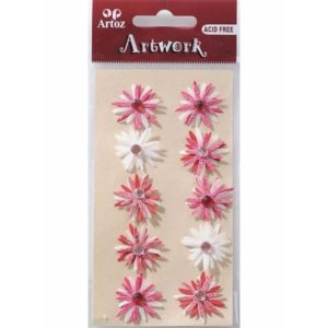 Fancy Flowers Red And White Craft Embellishment By Artoz