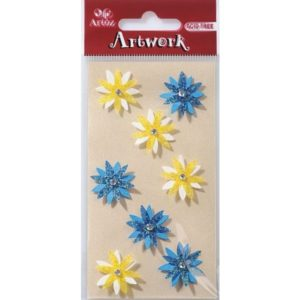 Blue And Yellow Flowers Craft Embellishment By Artoz