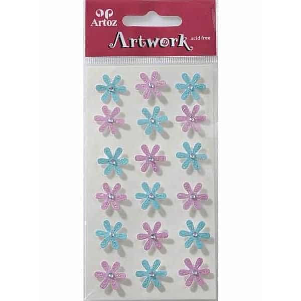 Pink And Blue Flowers Craft Embellishment By Artoz