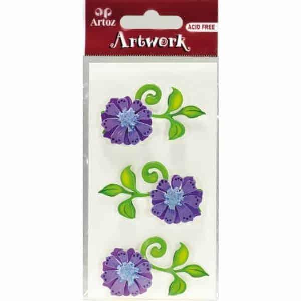 Purple Flowers Craft Embellishment By Artoz