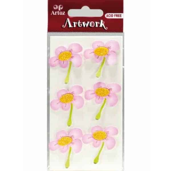 Pink And Yellow Flowers Craft Embellishment By Artoz