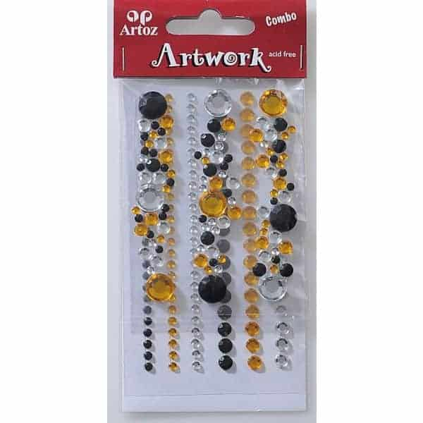 Black And Yellow Jewels Craft Embellishment By Artoz