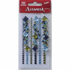 Blue And Olive Square Jewels Craft Embellishment By Artoz