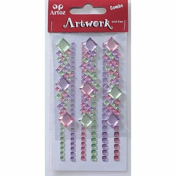 Lime And Pink Square Jewels Craft Embellishment By Artoz