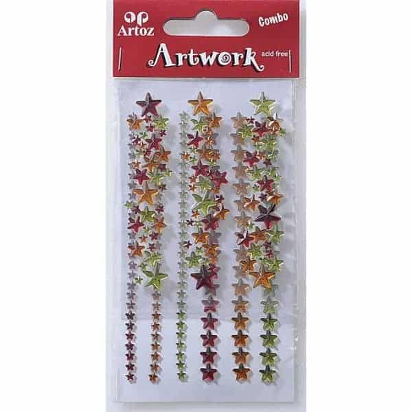 Red, Amber And Green Star Jewels Craft Embellishment By Artoz