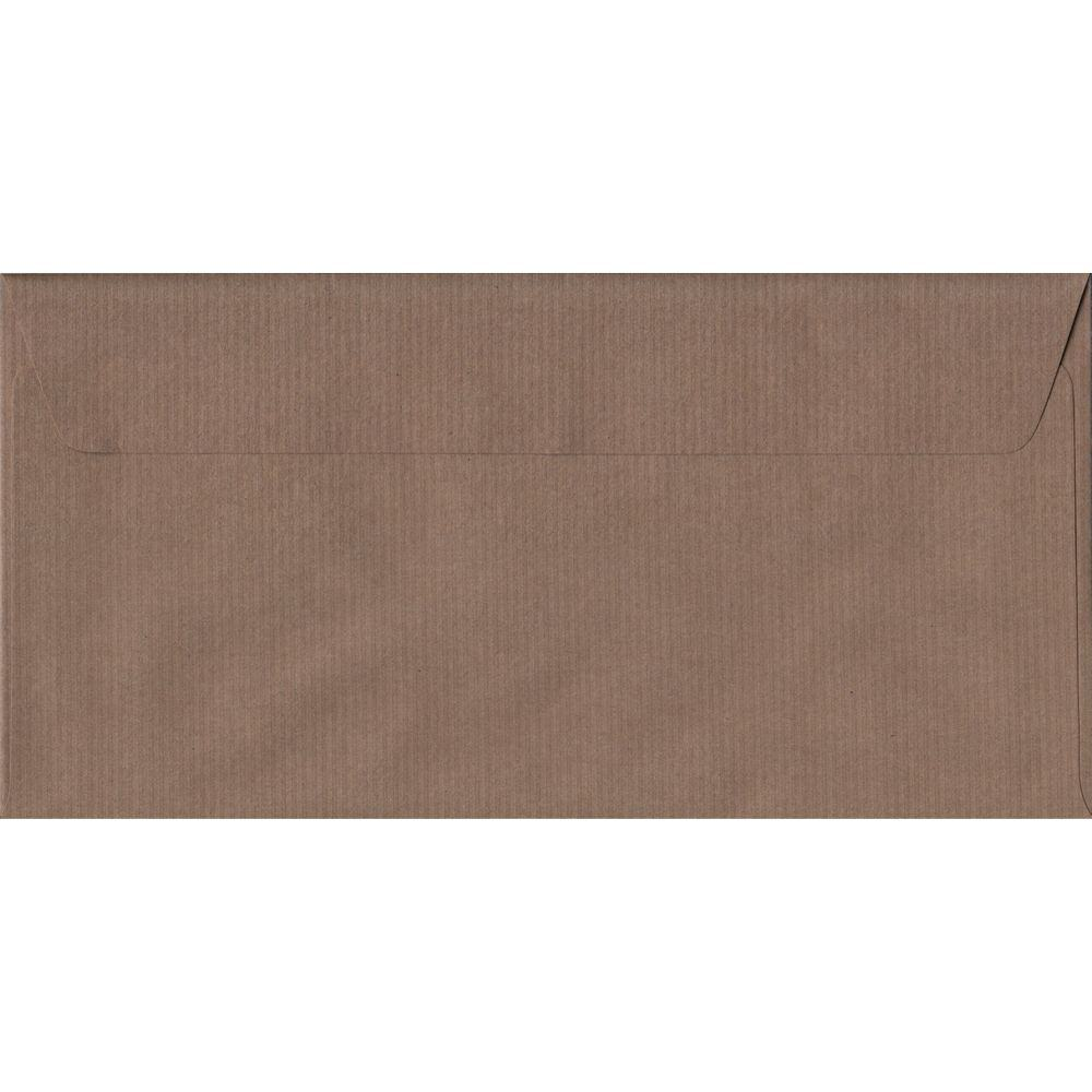 Brown Ribbed Premium Peel And Seal DL 110mm x 220mm Individual Coloured Envelope