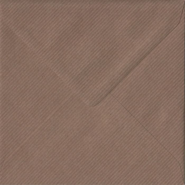 Brown Ribbed Premium Gummed S4 155mm x 155mm Individual Coloured Envelope
