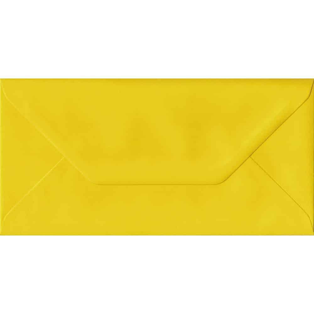 Daffodil Yellow Plain Gummed DL 110mm x 220mm Individual Coloured Envelope