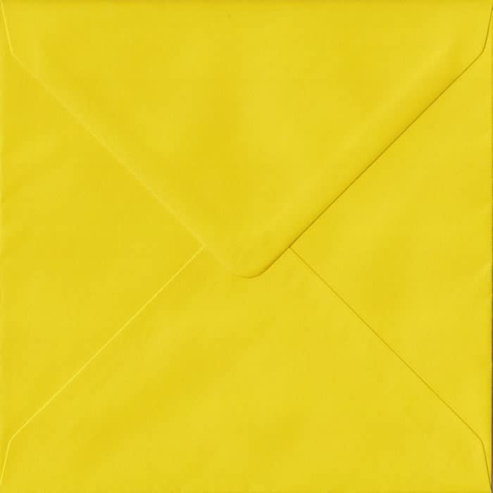 Daffodil Yellow Plain Gummed S4 155mm x 155mm Individual Coloured Envelope