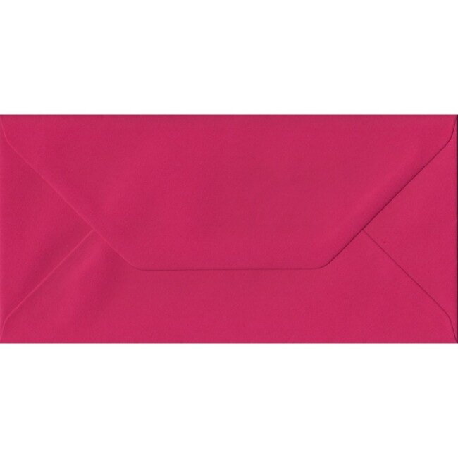 Fuchsia Pink Plain Gummed DL 110mm x 220mm Individual Coloured Envelope