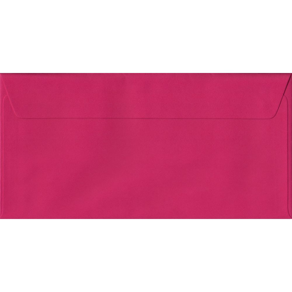Fuchsia Pink Plain Peel And Seal DL 110mm x 220mm Individual Coloured Envelope