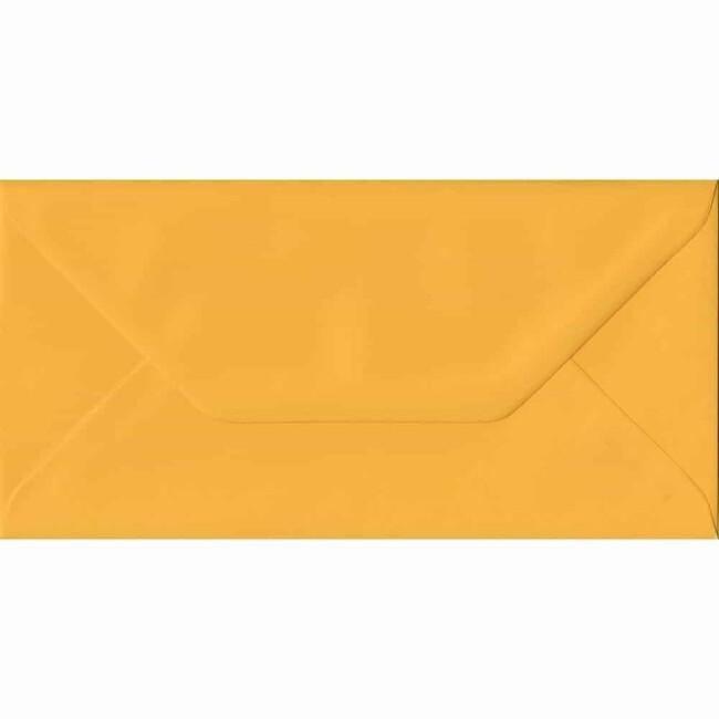 Golden Yellow Plain Gummed DL 110mm x 220mm Individual Coloured Envelope