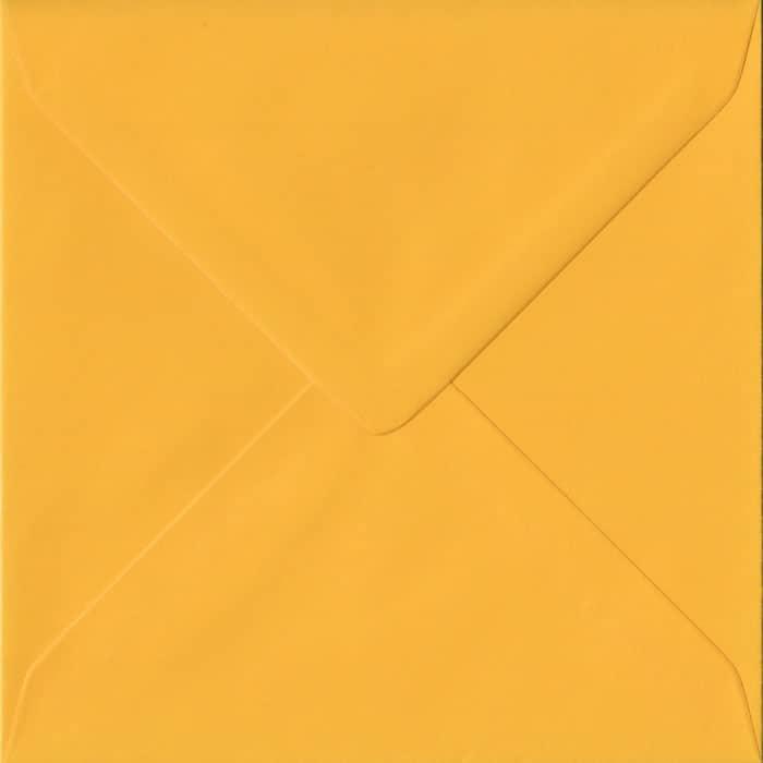 Golden Yellow Plain Gummed S4 155mm x 155mm Individual Coloured Envelope