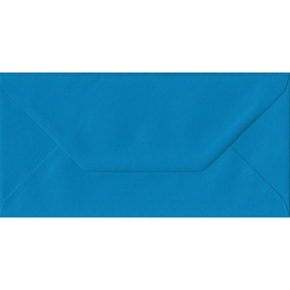 Kingfisher Blue Plain Gummed DL 110mm x 220mm Individual Coloured Envelope