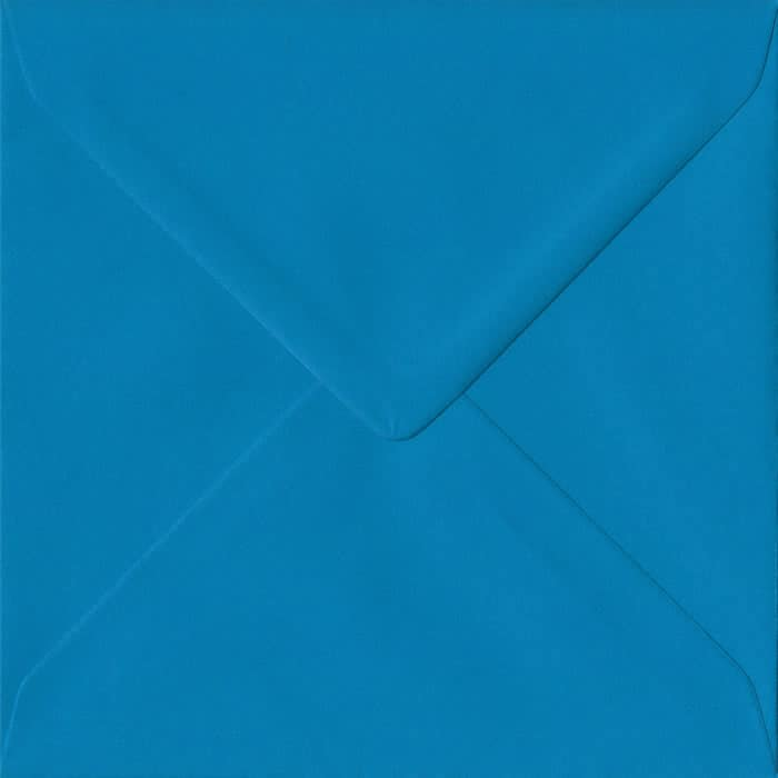 Kingfisher Blue Plain Gummed S4 155mm x 155mm Individual Coloured Envelope