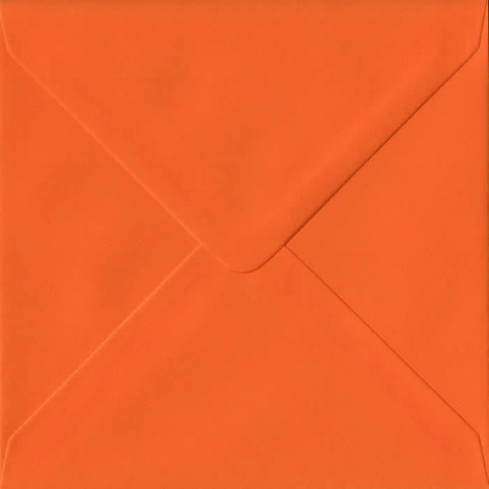 Orange Plain Gummed S4 155mm x 155mm Individual Coloured Envelope