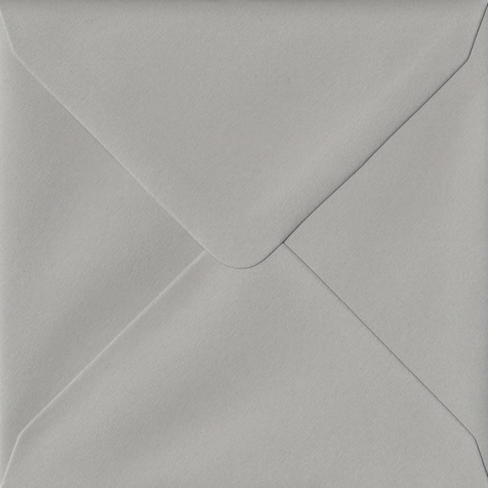 100 Square Grey Envelopes. Owl Grey. 155mm x 155mm. 120gsm paper. Gummed Flap.