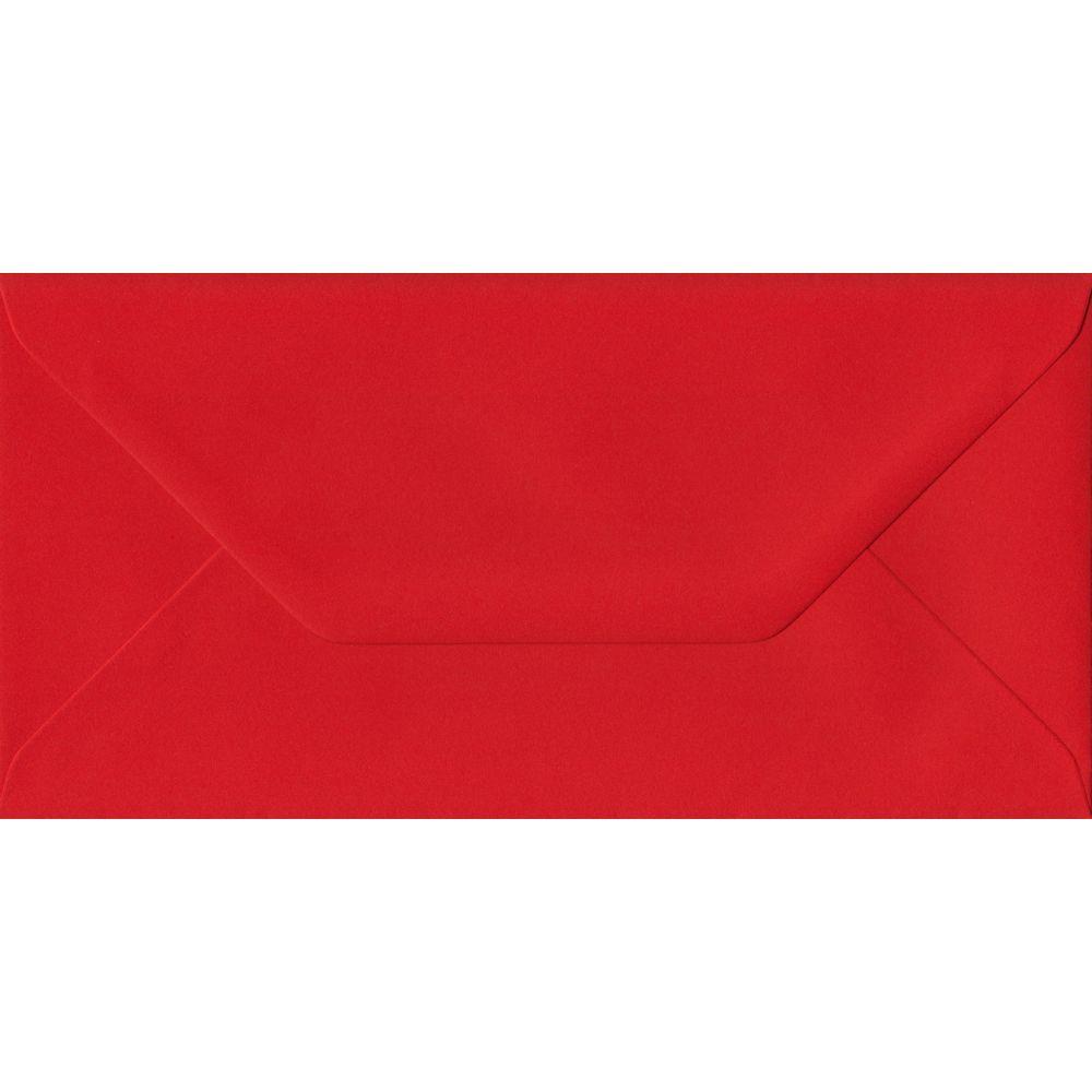 Poppy Red Plain Gummed DL 110mm x 220mm Individual Coloured Envelope