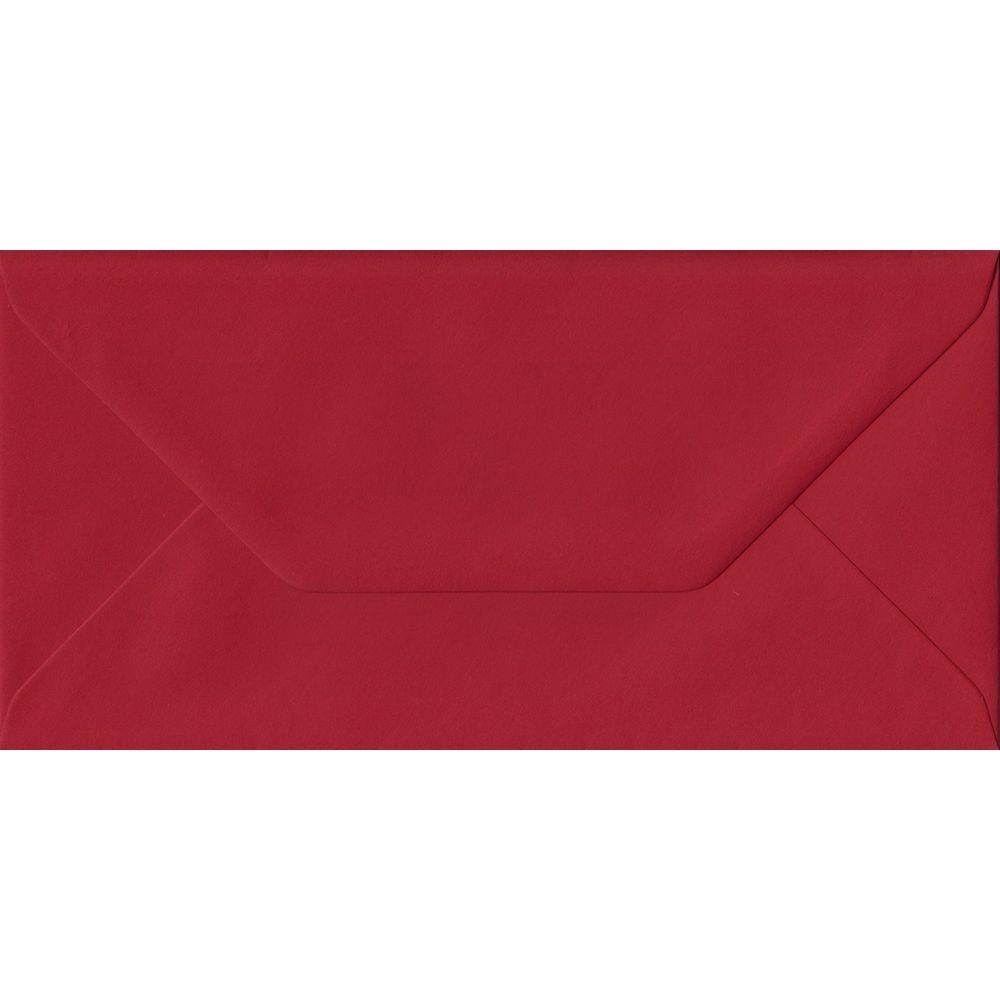 Scarlet Red Plain Gummed DL 110mm x 220mm Individual Coloured Envelope
