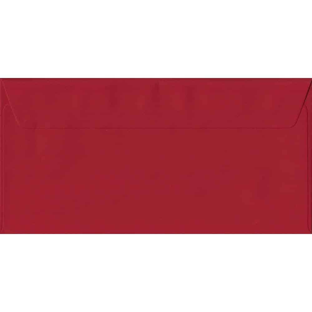 Scarlet Red Plain Peel And Seal DL 110mm x 220mm Individual Coloured Envelope