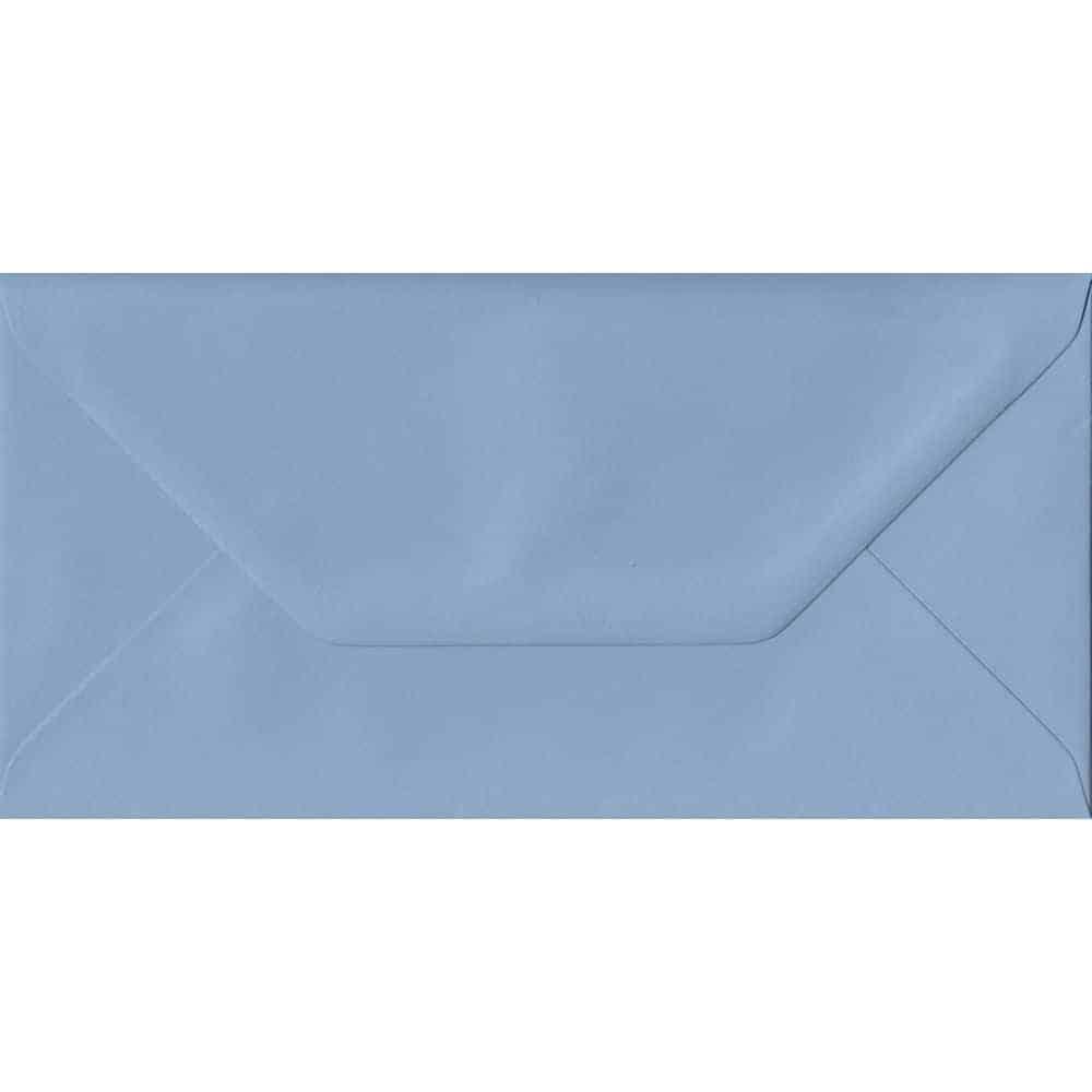 Wedgwood Blue Plain Gummed DL 110mm x 220mm Individual Coloured Envelope