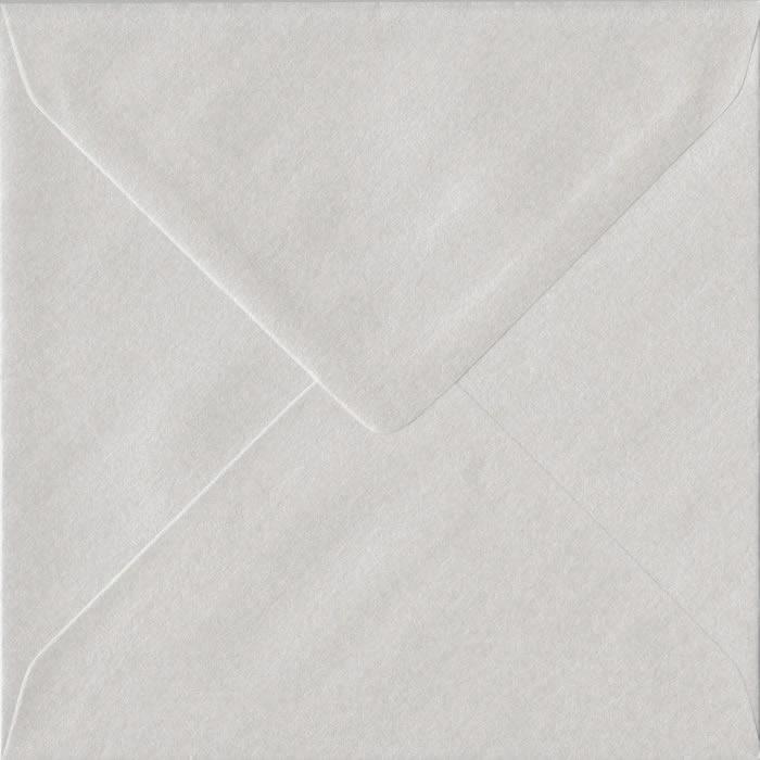 100 Square White Envelopes. White Pearl. 155mm x 155mm. 100gsm paper. Gummed Flap.