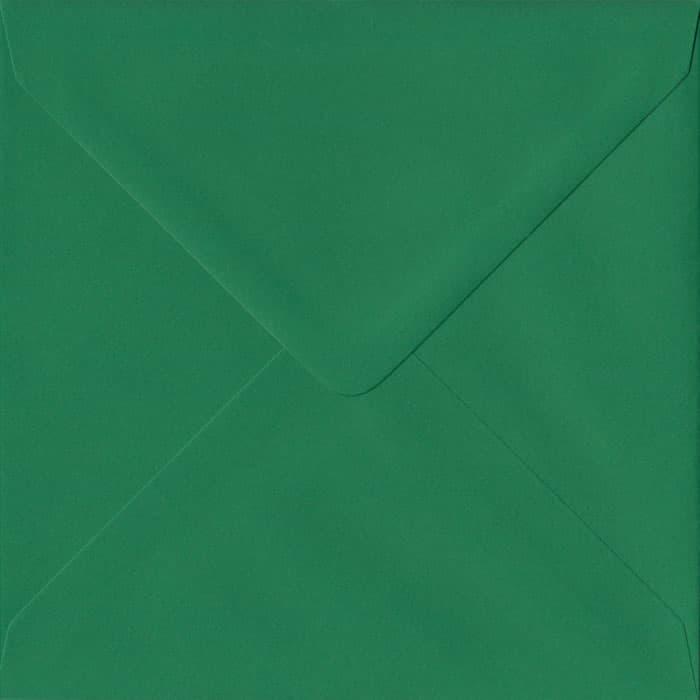 Xmas Green Premium Gummed S4 155mm x 155mm Individual Coloured Envelope