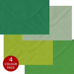 Green Pack 100 C5 Gummed Envelopes -Four Shades Of Green