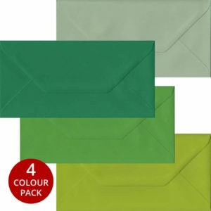 Green Pack 100 DL Gummed Envelopes -Four Shades Of Green