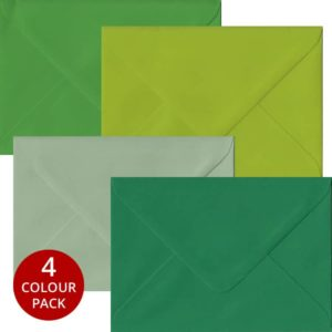 Green Pack 100 C6 Gummed Envelopes -Four Shades Of Green