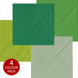 Green Pack 100 S4 Gummed Envelopes -Four Shades Of Green
