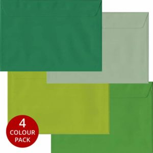 Green Pack 100 C5 Self Seal Envelopes -Four Shades Of Green
