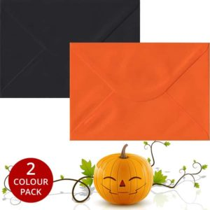 Halloween Pack 50 C5 Gummed Envelopes -Black/Orange