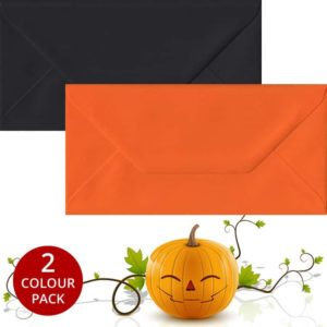 Halloween Pack 50 DL Gummed Envelopes -Black/Orange