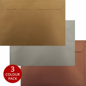 Awards Pack 75 Gold Silver Bronze C5 Peel/Seal Luxury Envelopes