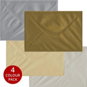 Metallic Pack 100 C5 Gummed Envelopes -Four Metallic Colours