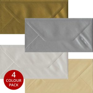 Metallic Pack 100 DL Gummed Envelopes -Four Metallic Colours
