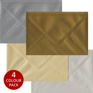 Metallic Pack 100 C6 Gummed Envelopes -Four Metallic Colours