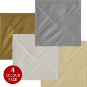 Metallic Pack 100 S4 Gummed Envelopes -Four Metallic Colours