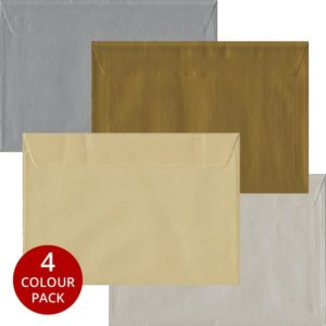 Metallic Pack 100 C5 Self Seal Envelopes -Four Metallic Colours