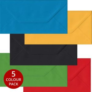 Olympic Pack 100 DL Gummed Envelopes -Five Olympic Colours