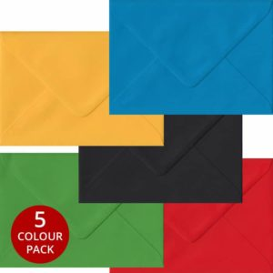 Olympic Pack 100 C6 Gummed Envelopes -Five Olympic Colours