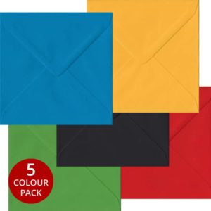 Olympic Pack 100 S4 Gummed Envelopes -Five Olympic Colours