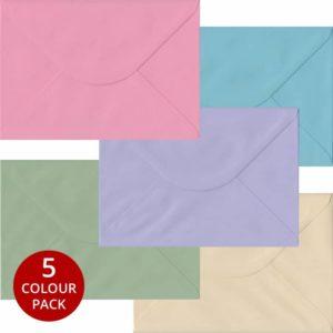 Pastel Pack 100 C5 Gummed Envelopes -Five Pastel Colours