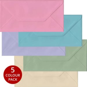 Pastel Pack 100 DL Gummed Envelopes -Five Pastel Colours