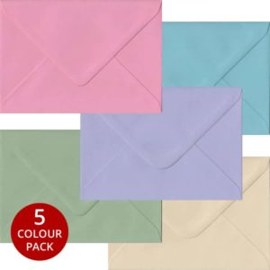 Pastel Pack 100 C6 Gummed Envelopes -Five Pastel Colours